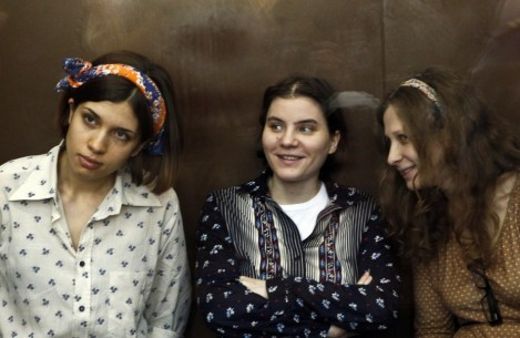 The three members of Pussy Riot in court